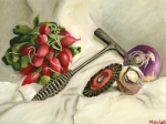 Turnips, Radishes, Welding Tools Still Life Painting