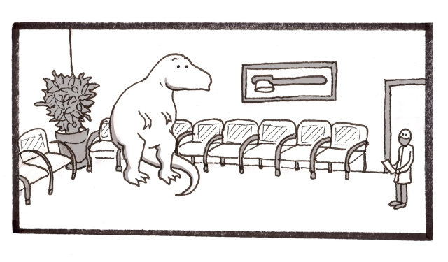 dinoasaur in a dentists waiting room
