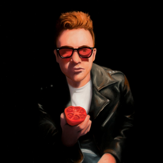 Aaron Mitchell Oil Painting of Ben Heljm eating a tomato