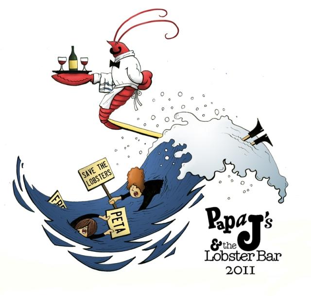Papa J & The Lobster Bar, Moorings Oceanfront RV resort Belfast, ME Aaron Mitchell illustration